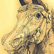 Yellow Carousel Horse Poster