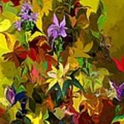 Yellow Fantasy Flower Garden Poster