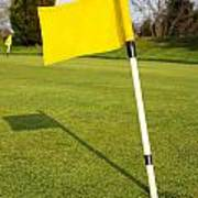 Yellow Flag On The Green Poster