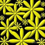Yellow Flower Power 3d Digital Art Poster