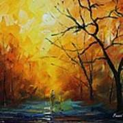 Yellow Fog 2 - Palette Knife Oil Painting On Canvas By Leonid Afremov Poster