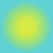 Optical Illusion - Yellow On Aqua Poster