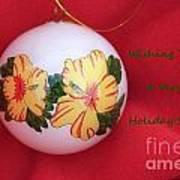 Yellow Hibiscus Christmas Bulb Poster