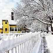 Yellow House With Snow Covered Picket Fence Poster