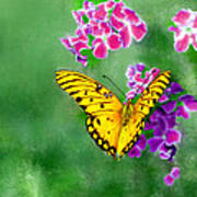 Yellow Monarch Butterfly Poster