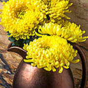 Yellow Mums In Copper Vase Poster by Garry Gay