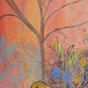 Yellow Peace Bird On Orange Poster