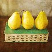 Yellow Pears And Vintage Green Book Still Life Poster