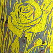 Yellow Rose On Blue Poster by Marita McVeigh