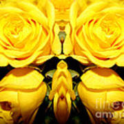 Yellow Roses Mirrored Effect Poster