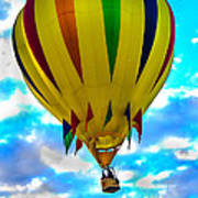 Yellow Striped Hot Air Balloon Poster