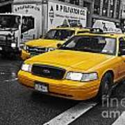 Yellow Taxi Color Pop Poster