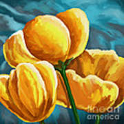 Yellow Tulips On Blue Poster