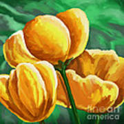 Yellow Tulips On Green Poster