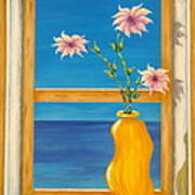 Yellow Vase With Sea View Poster
