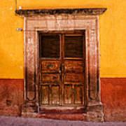 Yellow Wall Wooden Door Poster
