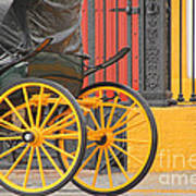 Yellow Wheeled Carriage In Seville Poster