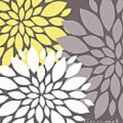Yellow White Grey Peony Flowers Poster