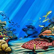 Yellowfin Grouper Wreck Poster