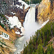 Yellowstone Falls In Spring Time Poster
