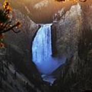 Yellowstone Lower Falls At Sunset Poster