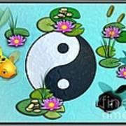 Yin Yang Koi Pond Scenery Poster