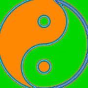 Yin Yang Orange Green Pop Art Poster