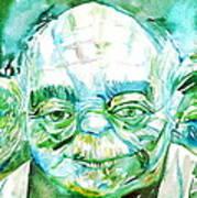 Yoda Watercolor Portrait Poster
