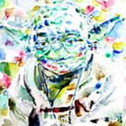 Yoda Watercolor Portrait.1 Poster