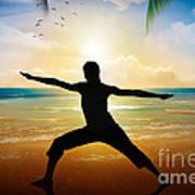 Yoga On Beach Poster