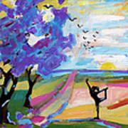 Yoga Under The Jacaranda Trees Poster