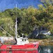 York Harbor Maine Painterly Effect Poster