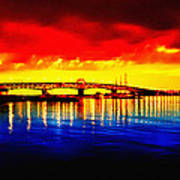 Yorktown Bridge Sunset Poster by Bill Cannon