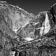 Yosemite Falls In Black And White II Poster by Bill Gallagher