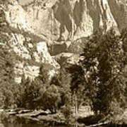 Yosemite Falls Sepia Poster