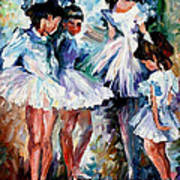 Young Ballerinas - Palette Knife Oil Painting On Canvas By Leonid Afremov Poster