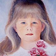 Young Girl With Roses Poster