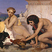 Young Greeks Attending A Cock Fight Poster