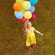 Young Happy Woman Flying On Colorful Helium Balloons Poster
