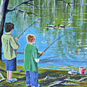 Young Lads Fishing Poster