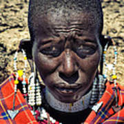 Portrait Of Young Maasai Woman At Ngorongoro Conservation Tanzania Poster