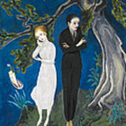 Young Man In Black. Girl In White Poster