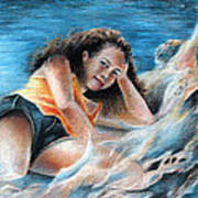 Young Tahitian Mermaid Poster
