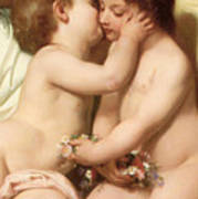 Young Woman Contemplating Two Embracing Children Detail II Poster by William Bouguereau