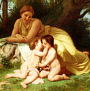 Young Woman Contemplating Two Embracing Children Poster