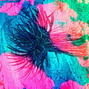 Yucca Abstract Pink Blue Green Poster