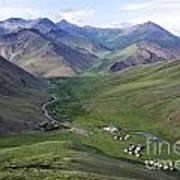 Yurts In The Tash Rabat Valley Of Kyrgyzstan  Poster