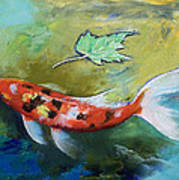 Zen Butterfly Koi Poster by Michael Creese