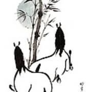 Zen Horses Moon Reverence Poster