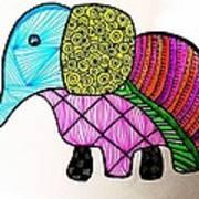 Zentangle Elephant Poster